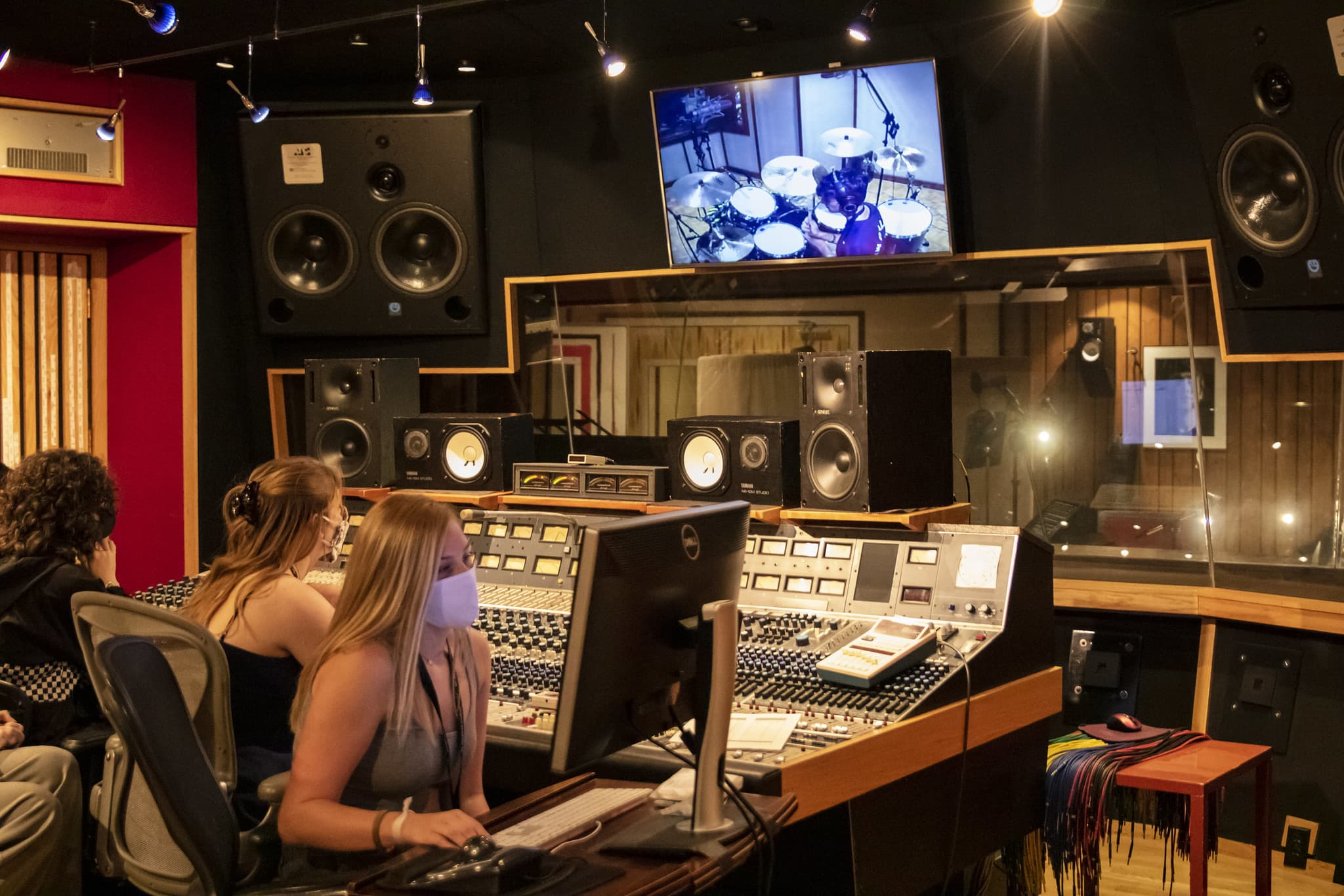 campers at neve console in studio a