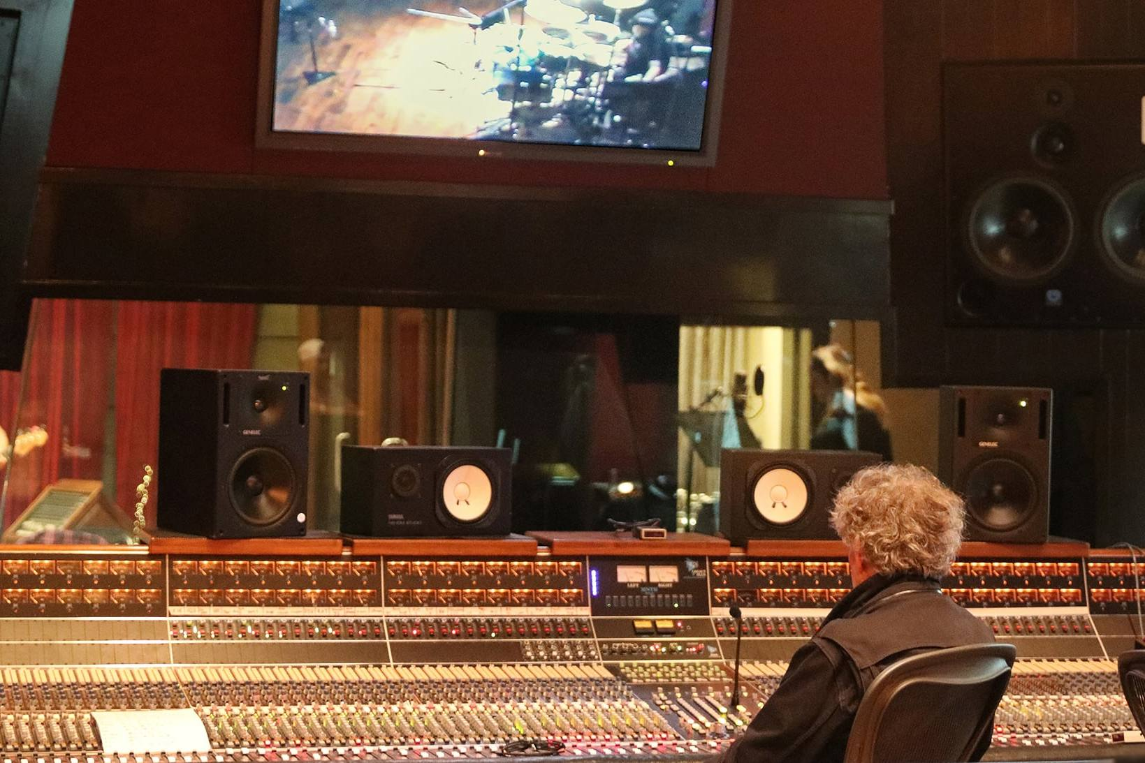 mark rubel at console and band in live room