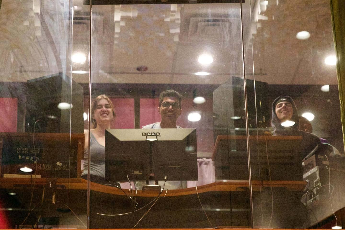 The crew above tracking in Studio I.