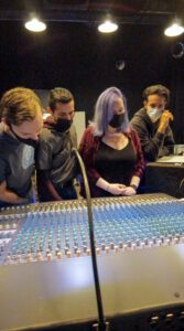 Students checking out Dave's mix.